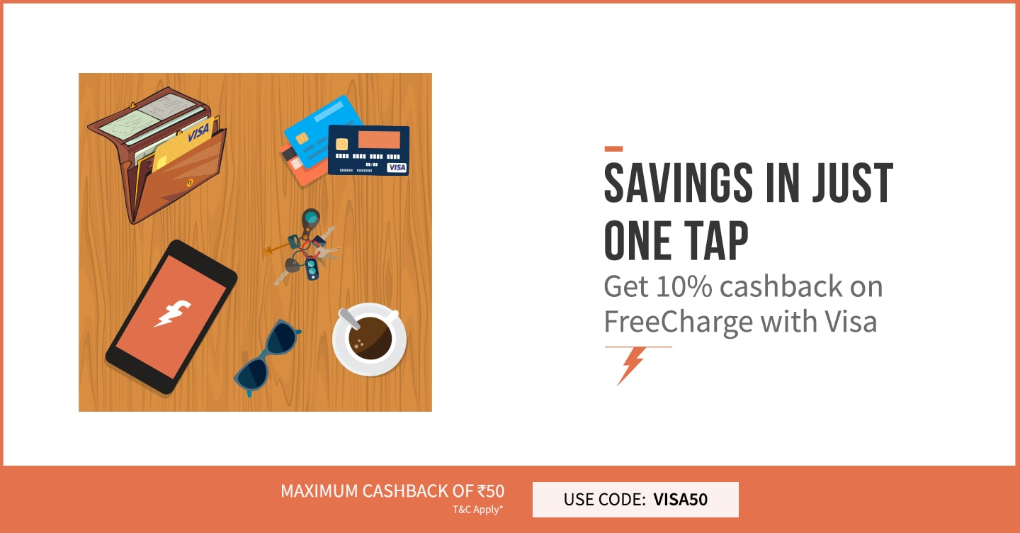 FreeCharge with your Visa Card and Get 10% Cashback  Use Code: VISA50